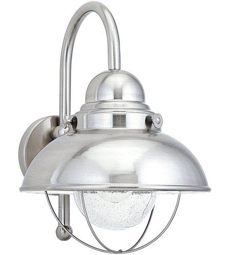 Sea Gull Lighting Sebring 1 Light Outdoor Wall Lantern in Brushed Stainless 8871-98