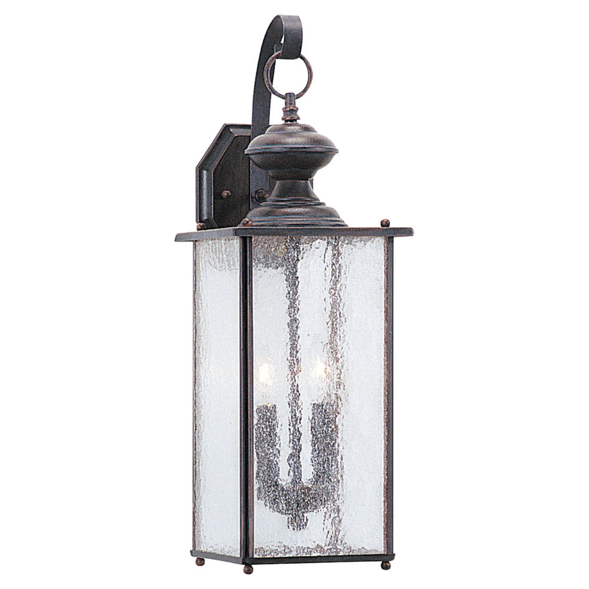 Sea Gull Lighting Jamestowne 2 Light Outdoor Wall Lantern in Textured Rust Patina 8883-08