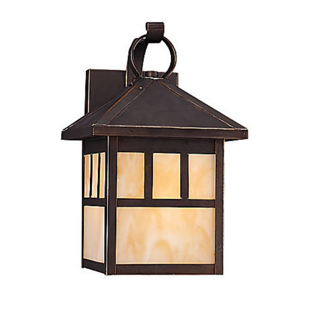 Sea Gull Lighting Prairie Statement 1 Light Outdoor Wall Lantern in Antique Bronze 89016BLE-71