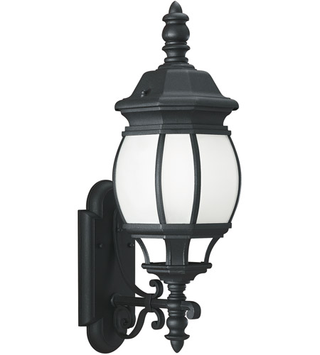 Sea Gull Lighting Wynfield 1 Light Outdoor Wall Lantern in Black 89103BLE-12
