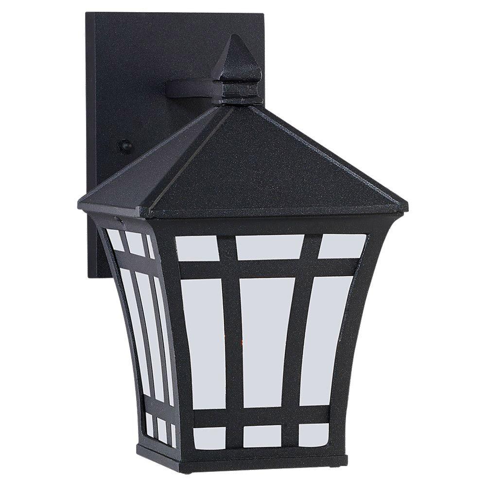 Sea Gull Lighting Herrington 1 Light Outdoor Wall Lantern in Black 89131BLE-12 photo