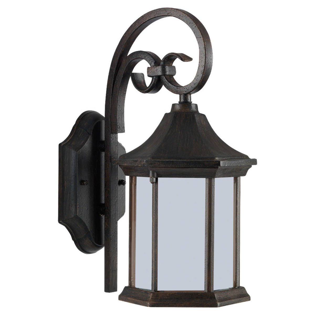 Sea Gull Lighting Ardsley Court 1 Light Outdoor Wall Lantern in Textured Rust Patina 89136PBLE-08