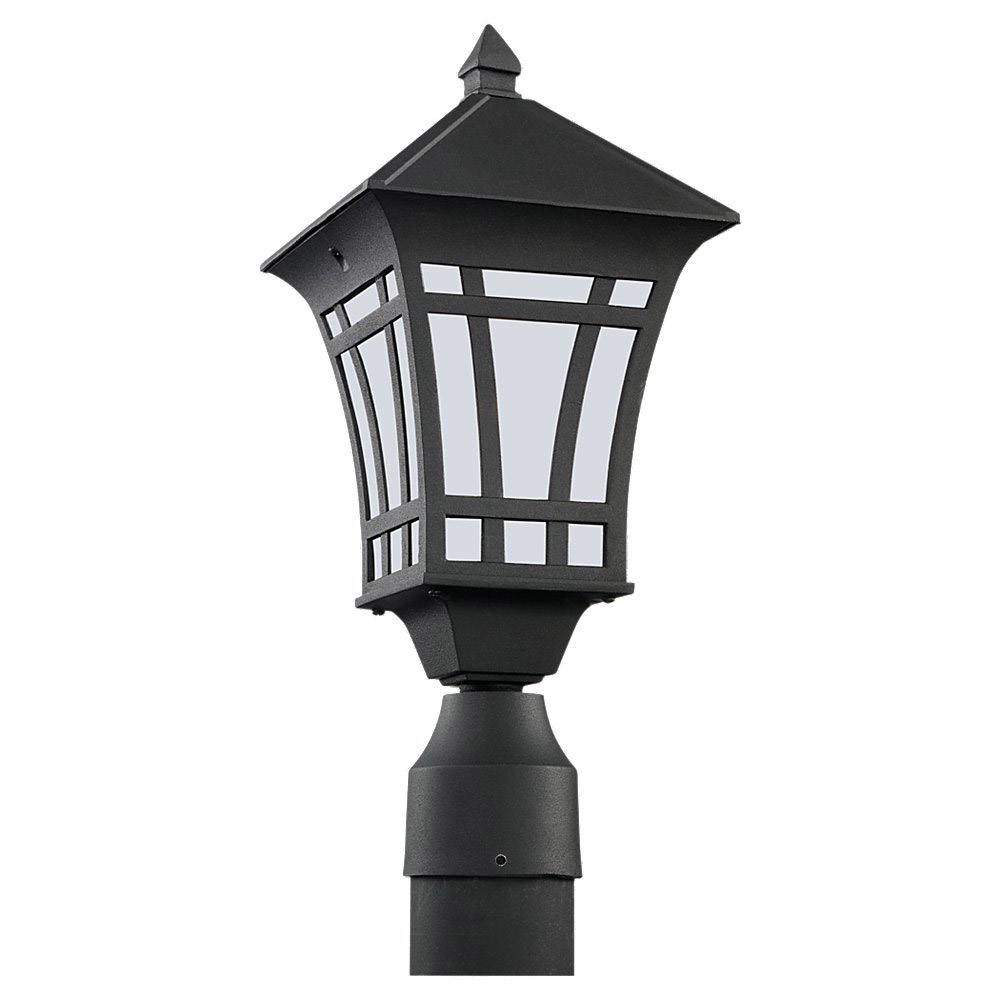 Sea Gull 89231BL-12 Herrington 1 Light 16 inch Black Outdoor Post Lantern in No Photocell photo