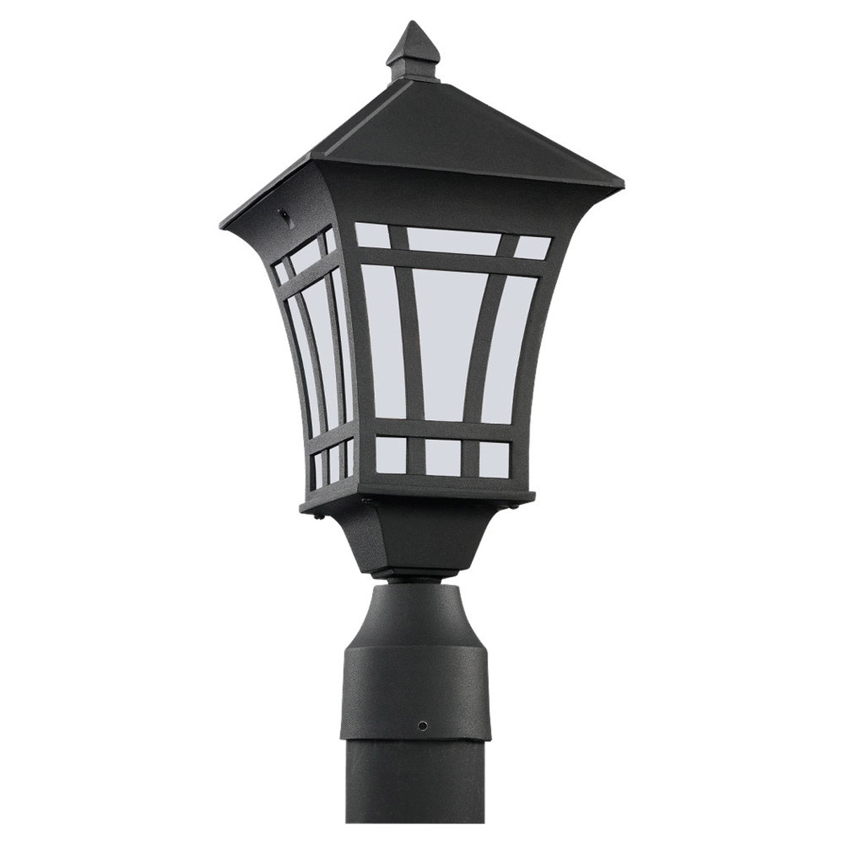 Sea Gull Lighting Herrington 1 Light Outdoor Post Lantern in Black 89231PBLE-12