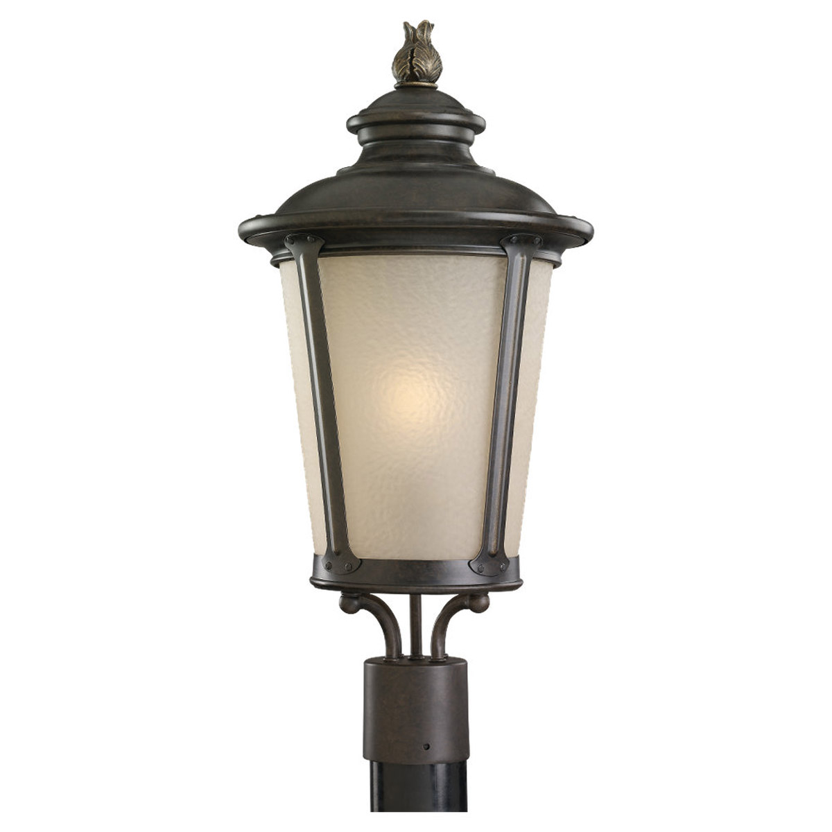 Sea Gull Lighting Cape May 1 Light Outdoor Post Lantern in Burled Iron 89240BL-780