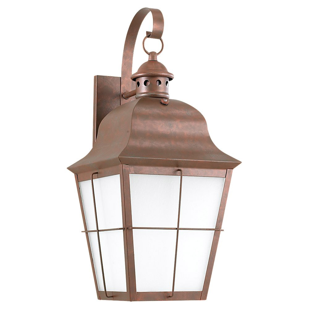 Sea Gull 89273BLE-44 Chatham 1 Light 21 inch Weathered Copper Outdoor Wall Lantern in No Photocell, Energy Efficient photo