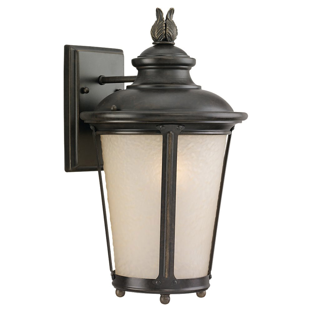Sea Gull 89341BLE-780 Cape May 1 Light 15 inch Burled Iron Outdoor Wall Lantern in Energy Efficient photo