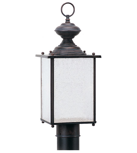 Sea Gull 89386BL-08 Jamestowne 1 Light 17 inch Textured Rust Patina Outdoor Post Lantern in No Photocell photo