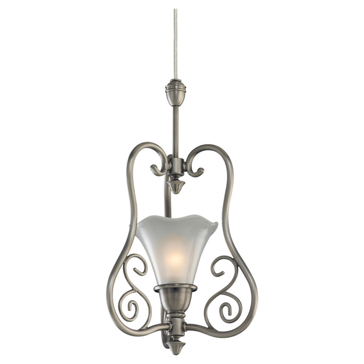Sea Gull Lighting Trudy 1 + 1 Light Complete Pendant Assembly in Antique Brushed Nickel 94565-965 photo