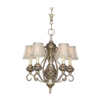 Highlands 5 Light 16 inch Palladium Chandelier Ceiling Light in Silver Silk Shantung Fabric