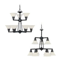 Sea Gull 31062-782 Sussex 9 Light 30 inch Heirloom Bronze Chandelier Ceiling Light in Satin Etched Glass