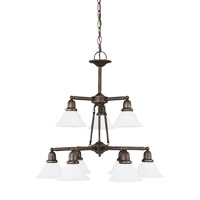 Sea Gull 31062-782 Sussex 9 Light 30 inch Heirloom Bronze Chandelier Ceiling Light in Satin Etched Glass alternative photo thumbnail