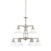 Sea Gull 31062-962 Sussex 9 Light 30 inch Brushed Nickel Chandelier Ceiling Light in Satin White Glass alternative photo thumbnail