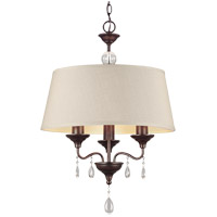 West Town 3 Light 20 inch Burnt Sienna Chandelier Ceiling Light in Oatmeal Faux Linen Shade, Fluorescent