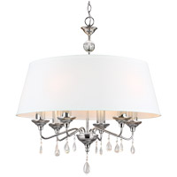 West Town 6 Light 28 inch Chrome Chandelier Ceiling Light in White Faux Linen Shade, Standard