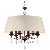 West Town 6 Light 28 inch Burnt Sienna Chandelier Ceiling Light in Oatmeal Faux Linen Shade, Fluorescent