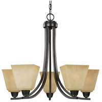 Parkfield 5 Light 25 inch Flemish Bronze Chandelier Ceiling Light in Creme Parchement Glass, Fluorescent