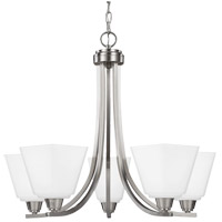 Parkfield 5 Light 25 inch Brushed Nickel Chandelier Ceiling Light in Etched,  White Inside Glass, Fluorescent
