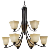 Parkfield 9 Light 34 inch Flemish Bronze Chandelier Ceiling Light in Creme Parchement Glass, Fluorescent