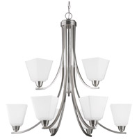 Parkfield 9 Light 34 inch Brushed Nickel Chandelier Ceiling Light in Etched Glass Painted White Inside, Fluorescent