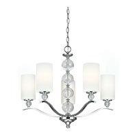 Englehorn 5 Light 27 inch Chrome / Optic Crystal Chandelier Single-Tier Ceiling Light in Fluorescent