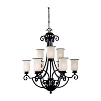 Sea Gull Lighting Acadia 9 Light Chandelier in Misted Bronze 31147BLE-814 photo thumbnail