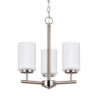 Sea Gull 31160EN-962 Oslo 3 Light 15 inch Brushed Nickel Chandelier Ceiling Light