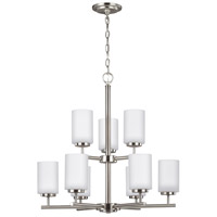 Sea Gull 31162-962 Oslo 9 Light 26 inch Brushed Nickel Chandelier Ceiling Light