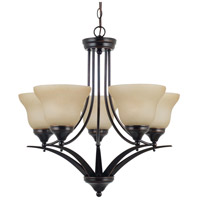 Brockton 5 Light 25 inch Burnt Sienna Chandelier Ceiling Light in Fluorescent