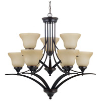 Sea Gull Lighting Brockton Fluorescent 9 Light Chandelier in Burnt Sienna 31175BLE-710