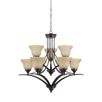 Brockton 9 Light 33 inch Burnt Sienna Chandelier Ceiling Light