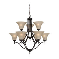 Montreal 9 Light 30 inch Burnt Sienna Chandelier Ceiling Light in Cafe Tint Glass, Fluorescent