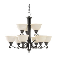 Sea Gull Lighting Serenity 9 Light Chandelier in Weathered Iron 31192-07 photo thumbnail