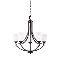 Sea Gull Lighting Hanford 5 Light Chandelier in Burnt Sienna with Satin Etched Glass 3124505BLE-710