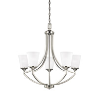 Sea Gull Lighting Hanford 5 Light Chandelier in Brushed Nickel with Satin Etched Glass 3124505BLE-962