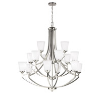 Sea Gull Lighting Hanford 15 Light Chandelier in Brushed Nickel with Satin Etched Glass 3124515-962