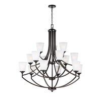 Sea Gull Lighting Hanford 15 Light Chandelier in Burnt Sienna with Satin Etched Glass 3124515BLE-710