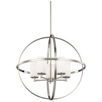 Sea Gull Lighting Alturas 5 Light Chandelier in Brushed Nickel with Etched White Inside Glass 3124605-962