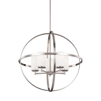 Sea Gull Lighting Alturas 5 Light Chandelier in Brushed Nickel with Etched White Inside Glass 3124605BLE-962