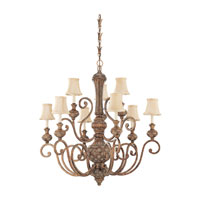 Highlands 9 Light 37 inch Regal Bronze Chandelier Ceiling Light in Fawn Fabric