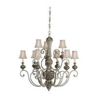 Sea Gull 31252-824 Highlands 9 Light 37 inch Palladium Chandelier Ceiling Light in Silver Silk Shantung Fabric photo thumbnail