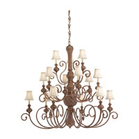 Highlands 15 Light 53 inch Regal Bronze Chandelier Ceiling Light in Fawn Fabric