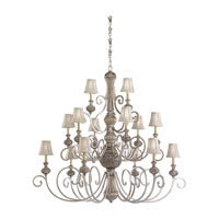 Highlands 15 Light 53 inch Palladium Chandelier Ceiling Light in Silver Silk Shantung Fabric