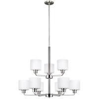 Sea Gull 3128809-962 Canfield 9 Light 31 inch Brushed Nickel Chandelier Ceiling Light