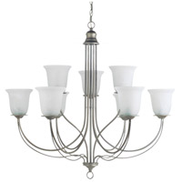Sea Gull 31293-57 Plymouth 9 Light 36 inch Weathered Pewter Chandelier Ceiling Light in Standard photo thumbnail
