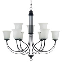 Sea Gull Lighting Plymouth Fluorescent 9 Light Chandelier in Blacksmith 31293BLE-839