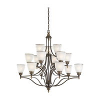 Sea Gull Lighting Laurel Leaf 15 Light Chandelier in Estate Bronze 31352-708