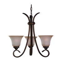 Rialto 3 Light 22 inch Russet Bronze Chandelier Ceiling Light in Ginger Glass