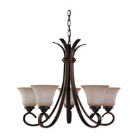 Rialto 5 Light 26 inch Russet Bronze Chandelier Ceiling Light in Ginger Glass
