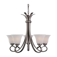Rialto 5 Light 26 inch Antique Brushed Nickel Chandelier Ceiling Light in Etched White Alabaster Glass
